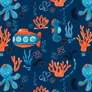 Ocean Creatures - Blue