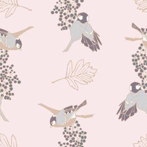 Two Birds - pink romantic pattern