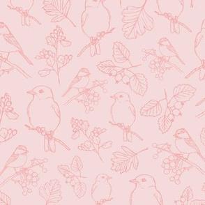 Hand-drawn vintage pink birds