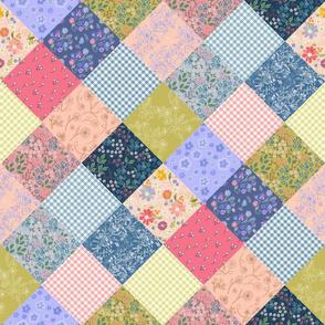 Bohemian Diamond Patchwork Quilt