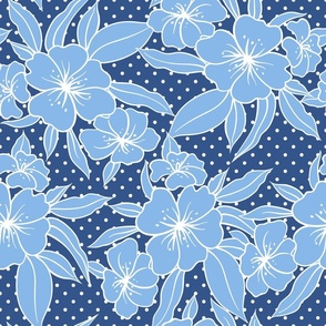 Blue floral with tiny polka dots