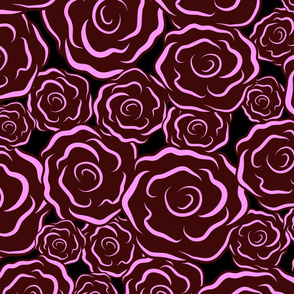 Just Roses dark pinks Large print