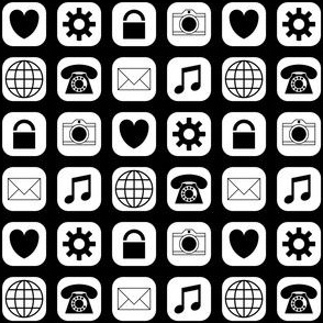 09503279 : application icons : black + white