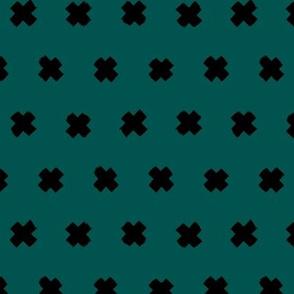 Raw brush x minimal cross plus designs abstract scandinavian style emerald green