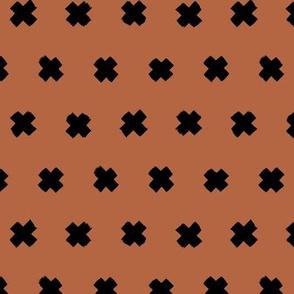 Raw brush x minimal cross plus designs abstract scandinavian style rust copper brown