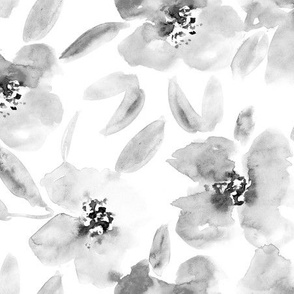 Noir mid summer bloom • watercolor florals in shades of grey for modern home decor