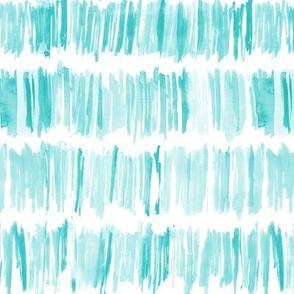 Aqua menthe watercolor brush stroke stripes • painted designs for modern nursery