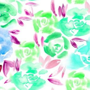 Aqua menthe watercolor roses • painted florals