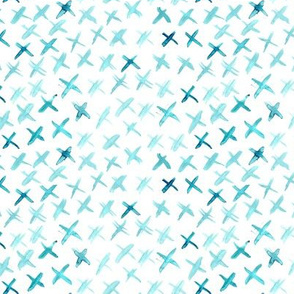 Aqua menthe watercolor crosses • small scale painted brush strokes