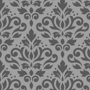 Scroll Damask Mid on Lt Gray Small Pattern
