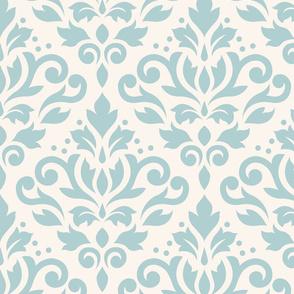 Scroll Damask Blue on Cream Small Pattern