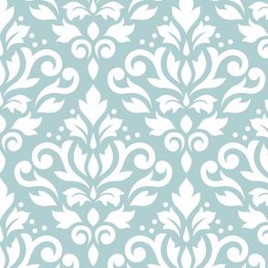 Scroll Damask White on Blue Small Pattern
