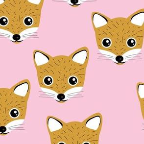 Adorable baby fox animal portrait woodland theme Scandinavian modern ochre yellow pink girls