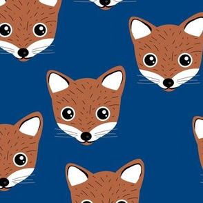 Adorable baby fox animal portrait woodland theme Scandinavian modern eclectic blue brown