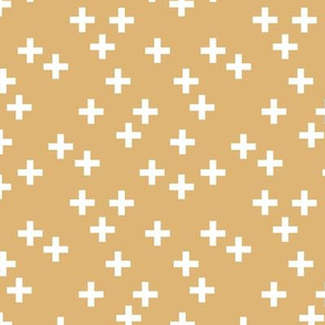 Geometric plus Scandinavian abstract sign design little cross ginger honey yellow