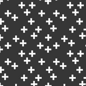 Geometric plus Scandinavian abstract sign design little cross charcoal gray