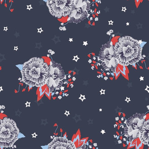 Comics Roses with Stars on Navy Blue seamless pattern background.