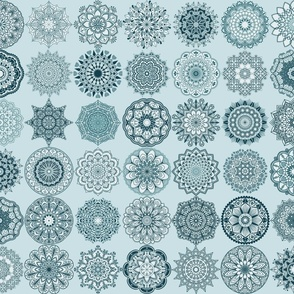 Mandala Medley - pale blue grey background