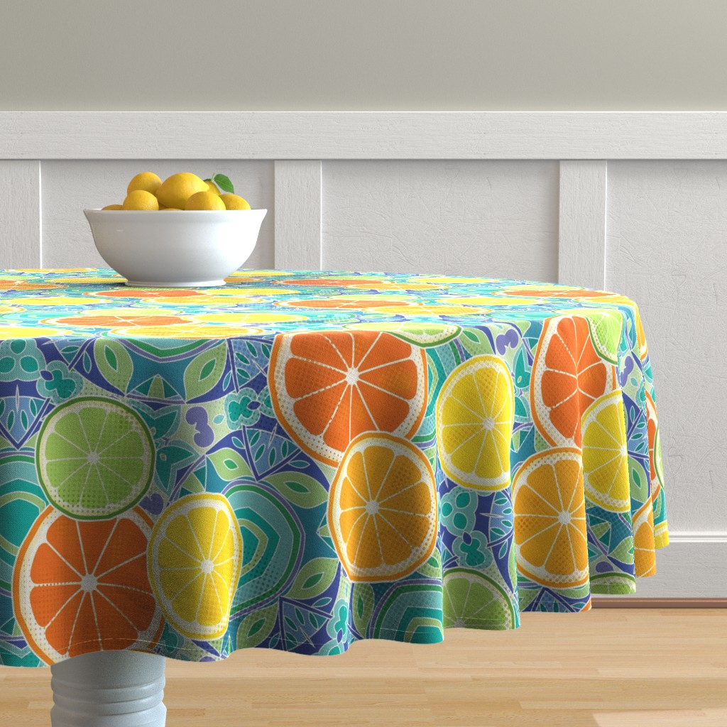 Malay Round Tablecloth featuring Citrus kaleidoscope by emikundesigns