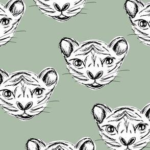 White tiger baby ink drawing wild life animal print sage green