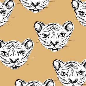 White tiger baby ink drawing wild life animal print honey ginger yellow