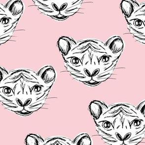 White tiger baby ink drawing wild life animal print soft pink girls