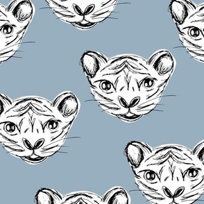 White tiger baby ink drawing wild life animal print cool winter blue
