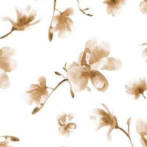 magnolia in earthy tones • watercolor boho flowers