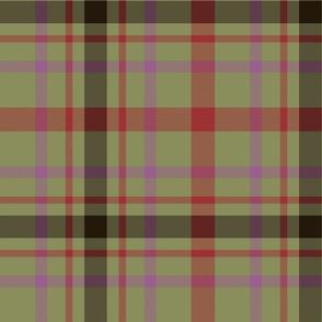 "MacDonagh tartan - 12"" olive and pink"