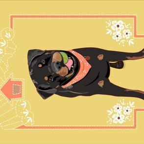 BLACK DOG -2-Yellow tea towel rotate