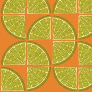 Lime Twist - vibrant lime green on orange