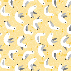 seagulls on yellow - rotated