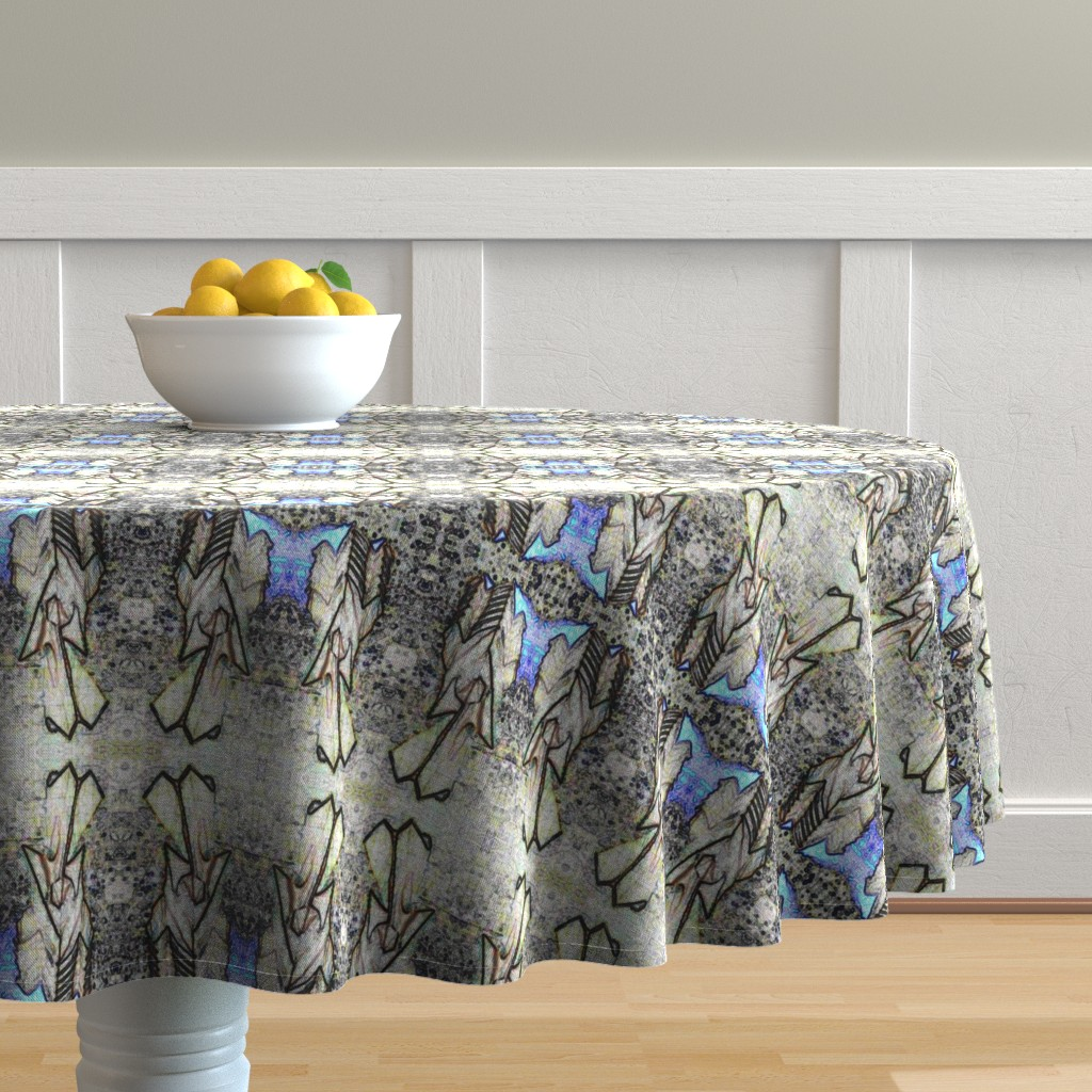 Malay Round Tablecloth featuring Origami Pet Mandala by quilterscomfort_