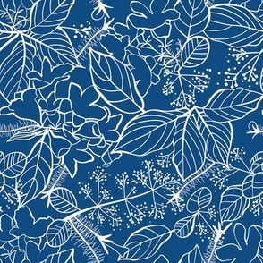 Blooms and Leaves Lines / Classic Blue