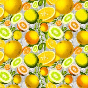 citrus on grey