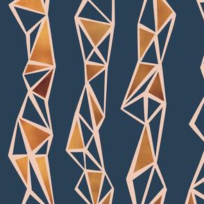 Geometric gold inlay stripe