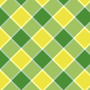 """Jacobite coat check, 6"""" diagonal, yellow and green"""