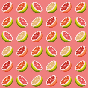 Pomelo Halves on Pink