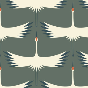 "Whooping Crane Migration - Green Smoke, Farrow and Ball, 24"" wings wallpaper"