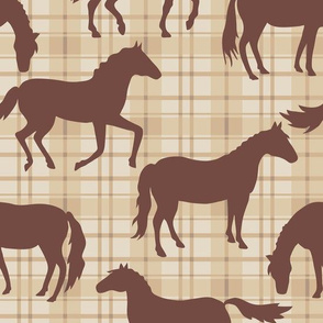 Brown Horses Beige Plaid Med