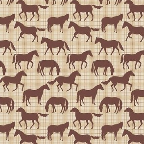 Brown Horses Beige Plaid ExtraSm