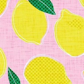 LARGE lemon pop - cotton candy & lemon yellow