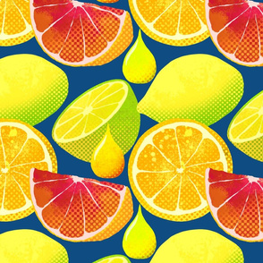 Pop art citrus on classic blue background