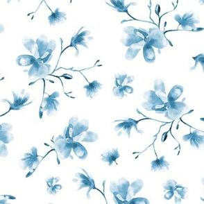 Blue watercolor magnolia