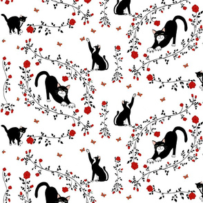 Cats and (red) roses