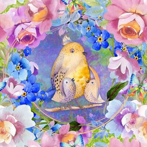 "8"" YELLOW PURPLE FAT BIRD FAMILY MOM BABY AMONG FLOWERS TILES FLWRHT"