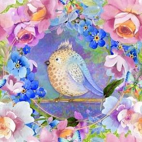 "8"" BROWN AQUA FAT BIRD AMONG FLOWERS TILES FLWRHT"