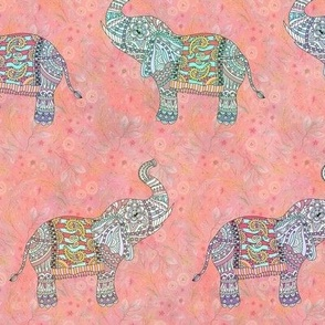 small sweet pretty elephants on coral pink  FLWRHT