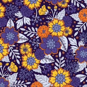 Purple, Yellow & Orange Flowers/Floral Pattern