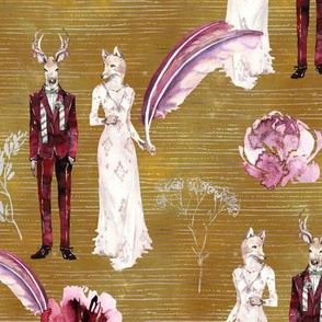 ANIMALS IN LOVE  WEDDING DEER FOX WATERCOLOR MUSTARD FLWRHT